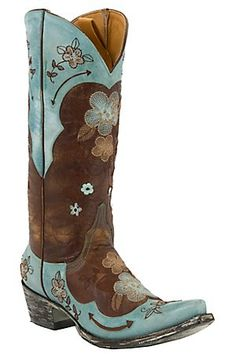 "Old Gringo® Ladies Bonnie 13"" Brown w/Turquoise Embroidered Flowers Snip Toe Boots"