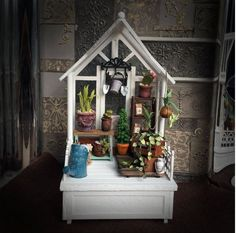 Lovely garden sheds to lay in your dollhouse or in your interior. A space of peace and meditation. Miniature Greenhouse, Garden Sheds, Meditation, Miniatures, Peace, Handmade Gifts, Interior, Plants, Etsy