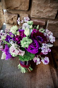 Floral Designs Portland Oregon Bridal Bouquet Purple Wedding Flowers