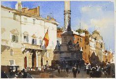 【Piazza di Spagna, Roma】Watercolour....Demo by Chien Chung Wei,18*27CM,ARCHES 300g/㎡