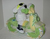 Items similar to Diaper Cake - Diaper Motorcycle - Baby Shower Gift - Baby Shower Centerpiece - Girl on Etsy. , via Etsy.