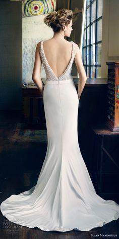 lusan mandongus 2017 bridal sleeveless deep v neck heavily embellished beaded bodice elegant glamorous sheath wedding dress open low v back sweep train (peridot) bv -- Lusan Mandongus 2017 Bridal Collection