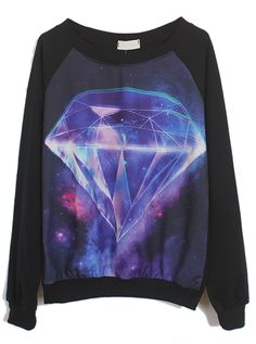 Black Long Sleeve Galaxy Diamond Print Sweatshirt - Sheinside.com