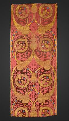 Fragment. 17th century Turkish silk, metal wrapped thread; brocaded and voided velvet.