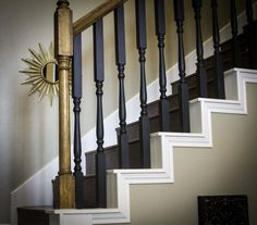 chalk paint furniture Updating a Stairway With Chalk Paint Painted Stair Railings, Stair Spindles, Painted Staircases, Staircase Railings, Painted Stairs, Banisters, Stairways, Black Staircase, Stairs Trim