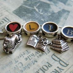 Heart Library Charm Bracelet Librarian Jewelry by ALikelyStory Book Lovers Gifts, Book Gifts, Old Fashioned Typewriter, Librarian Style, Typewriter Keys, Gifts For Librarians, Book Jewelry, Love Bracelets, Bibliophile