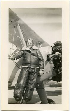 1944 Military Pilot in Full Leather Uniform Next to Airplane - snapshot 756