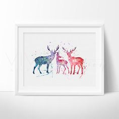Deer Family Watercolor Nursery Art Print Wall Decor. This art illustration is a composition of digital watercolor images and silhouettes in a minimalist style.