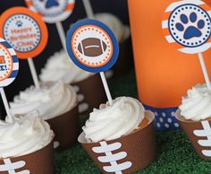 Football Party - Birthday - Football Cupcake Toppers - Your choice of Colors - Amanda's Parties TO GO. $12.00, via Etsy.