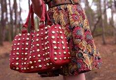 print and studded purse