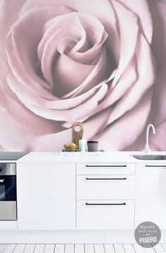 """Pink Rose"" Wall Mural from PIXERS #pastel #rose #walldecor"