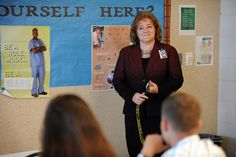 Principal Cheryl Goodyear-Degeorge speaks with students during the first day of class Aug. 2 at Falcon High School in Falcon School District 49. Goodyear-Degeorge, previously the assistant principal at Wasson High School in Colorado Springs District 11, accepted the school leadership role in District 49 this summer.