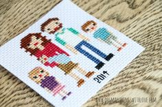 cross stitch family portrait pattern - could use it as hama bead pattern