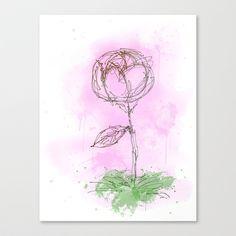 Rose Stretched Canvas by Escrevendo e Semeando - $85.00