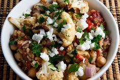 Roasted Cauliflower and Red Pepper Farro Salad