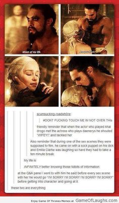 Game Of Thrones Memes funny humour. Daenerys Targaryen and Khal Drogo. Emilia Clarke, Khaleesi, Mother of Dragons Daenerys And Khal Drogo, Daenerys Targaryen, Jason Momoa Khal Drogo, Daenerys And Jon, Game Of Throne Daenerys, Moon Of My Life, Fandoms, Game Of Throne Lustig, Quotes Sherlock