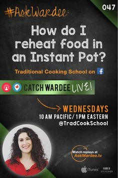 "Do you want to get rid of your microwave for good and reheat leftovers in a healthier way? So does Ann. She asks, ""How do I reheat food in an Instant Pot? Can it possibly replace my microwave?"" Watch, listen, or read to learn how to reheat leftovers in the Instant Pot! 