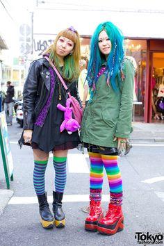 592628eddf2a Girls in striped thigh hights   rainbow tights Harajuku Girls