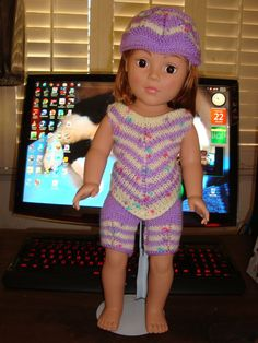 Ladyfingers - AG doll - Chevron Stripes Top, Walking Shorts and Hatt