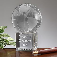 Personalized Crystal Globe for the Greated Dad # Father's day gift