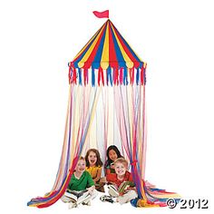 Create that big time feeling at your Circus theme birthday party with the Circus Canopy Tent. The three feet by 10 feet multicolored blue, red, yellow and orange canopy comes with clear nylon ribbons. Each canopy is sold separately. Backyard Canopy, Canopy Outdoor, Canopy Tent, Ikea Canopy, Hotel Canopy, Canopy Curtains, Door Canopy, Canopy Lights, Outdoor Play