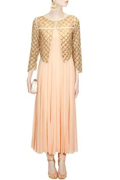 Peach flared anarkali suit with cutdana embroidered jaal jacket available only at Pernia's Pop Up Shop.