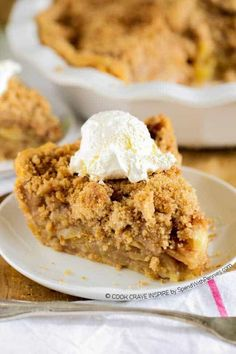 The BEST Apple Crumb Pie! Loaded with fresh tart apples & topped with a sweet brown sugar crumble, this is one recipe that will be requested over and over!