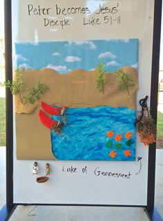 Bible Story Sensory Board Ideas ~ like how it's made out of brown paper which is a nice natural/sensory material Sensory Wall, Sensory Boards, Church Nursery, Special Needs Kids, Kids Church, Bible Stories, Bible Lessons, Sunday School, Teaching Kids