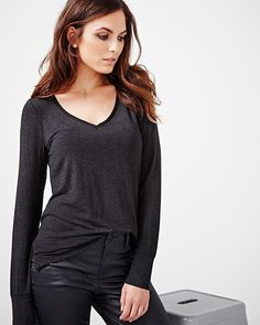 This long sleeve t-shirt is great for weekends. Wear yours tucked in some jeans…