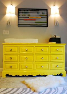 Repurposed dresser:  Dresser used as a baby changing table, from Honey & Fitz blog.