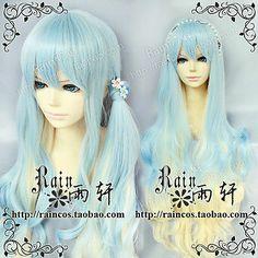 Hot!【Lolita Girl Wig Lo Niang Girl Volume Blue Gold Gradient Curls Cosplay Wig】 | eBay