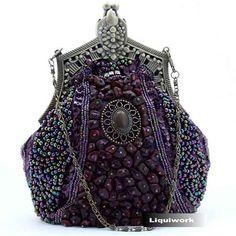 goth style purses | Purple Cameo Victorian Gothic Fashion Wedding Evening Clutch Purses