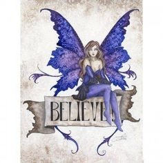 Amy Brown fairy fantasy art Believe is 10 inches tall, has a banner says believe where fairy sits in blue corset top, black skirt and blue stockings. Fantasy Kunst, Fantasy Art, Amy Brown Fairies, Dark Fairies, Fantasy Fairies, Elves Fantasy, Fairy Gifts, Unicorns And Mermaids, Fairy Pictures