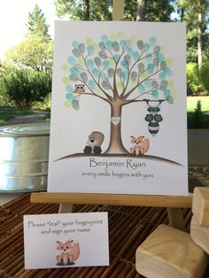 PRINTABLE! Customizable tan and grey Thumb print tree guest book, Owl and fox Fingerprint tree guest book, woodland animals baby shower par MeganHStudio sur Etsy https://www.etsy.com/ca-fr/listing/476295053/printable-customizable-tan-and-grey