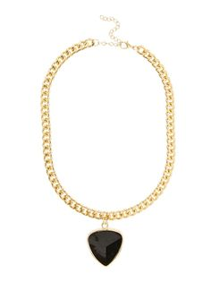 Chunky pendant necklace   Big and bold jewellery are very trendy this season and a necklace can effortlessly update a look in an instant. This chunky black pendant necklace is a beautiful statement piece and just what you need to add a touch of chic to your office attire.