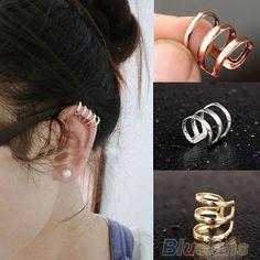 Vogue Trinity Clip On Earrings Ear Clip Wrap No Piercing Ear Cuff For Men Women #AustinStore2002US #Cuff