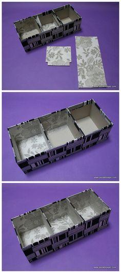 Cómo se hace una caja de cartón gris con compartimentos: forra la caja. Paso4. Craft Storage, Sewing Tutorials, Ideas Para, Repurposed, Lente Canon, Paper, Eminem, Gifts, Handmade