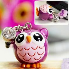 @everbuying  $1.76 3.5mm Headset Dust Plug Dustproof Ear Cap for iPhone 5 Cellphone Owl Cartoon (Purple) #gifts