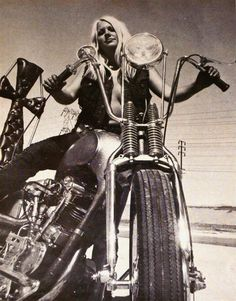 Blonde On Springer Motorcycle Picture