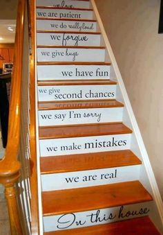 Recipe for life quote on a staircase - this would speak volumes in the entrance hall of any home