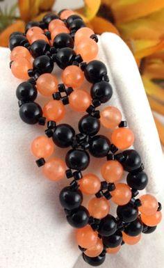 Bracelet Beaded Handmade Lacy Apricot Jade Black Obsidian Harvest | jazzitupwithdesignsbynancy - Jewelry on ArtFire