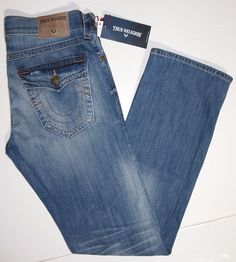True Religion Ricky relaxed straight fit men's jeans size 32x34 flap pocket NEW #TrueReligion #RelaxedStraightLeg