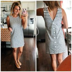 Summer Outfit // Striped Dress with Slide Sandals and Statement Earrings // What to Wear with Statement Earrings // Lightweight Summer Dress // Perfect Summer Dress for casual wedding, reunion and event // Summer Fashion Source by ShopStyle Reunion Outfit, Reunion Dress, Casual Summer Dresses, Summer Outfits, Living In Yellow, Frack, Outfit Trends, Affordable Dresses, Casual Wedding