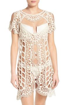 """For Love & Lemons 'Barcelona' Crochet Cover-Up Ornately crocheted cotton forms a head-turning cover-up perfect for showing off your sun-kissed skin as you stroll home from the beach. 37 1/2"""" length (size Medium). Crewneck. Short sleeves. 100% cotton. Hand wash cold, line dry. By For Love & Lemons;"""