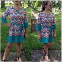 tunic dress 3/4 sleeve print & JADE colorblock dress with tie. Wear as a dress or tunic over your favorite jeans/leggings. Small (2/4) Medium (6/8) Large (10/12) - PRICE is firm unless bundling - no trades. Thank you  Dresses