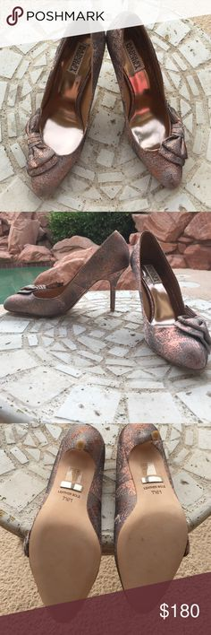 Badgley Mischka Rose Gold Madisyn Heels New and never used with box. They didn't fit me and I really really don't want to let these go but they are a size too small. They with extra bottoms for the heels. Badgley Mischka Shoes Heels