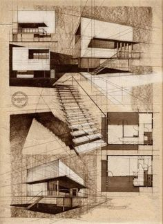 Moderne Villa von Alina Surduleasa - Architecture-ah-ha! Architecture Design Concept, Architecture Sketchbook, Architecture Graphics, Architecture Student, Art And Architecture, Classical Architecture, Architecture Diagrams, Chinese Architecture, Architecture Portfolio