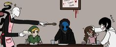 Creepypasta family: Slenderman, Ben Drowned, Eyeless Jack, Sally, and Jeff The Killer.