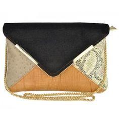 Over-sized Chain Shoulder Strap Handbag - A unique and versatile boutique designer handbag with faux animal prints and textures.