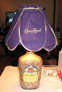 Crown Royal Whiskey bottle lamp for my brother and brother in law(Whiskey Bottle Lights) Crown Royal Bottle, Crown Royal Bags, Diy Bottle, Bottle Art, Alcohol Bottle Crafts, Christmas Presents For Men, Christmas 2015, Christmas Ideas, Christmas Gifts